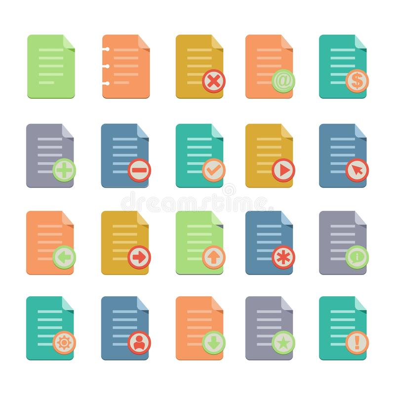 Επίπεδα σύνολα εικονιδίων εγγράφων απεικόνιση αποθεμάτων