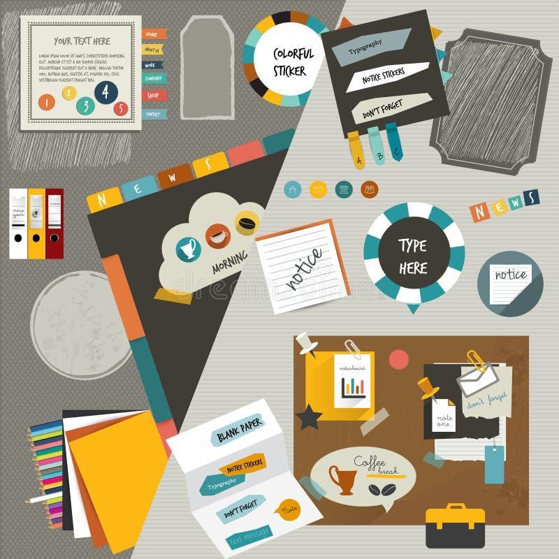 Επίπεδα τμήματα σχεδιαγράμματος Ιστού γραφείων εργασίας Ζωηρόχρωμο γραφικό πρότυπο Φάκελλος, αυτοκόλλητη ετικέττα, γραφική παράστ διανυσματική απεικόνιση