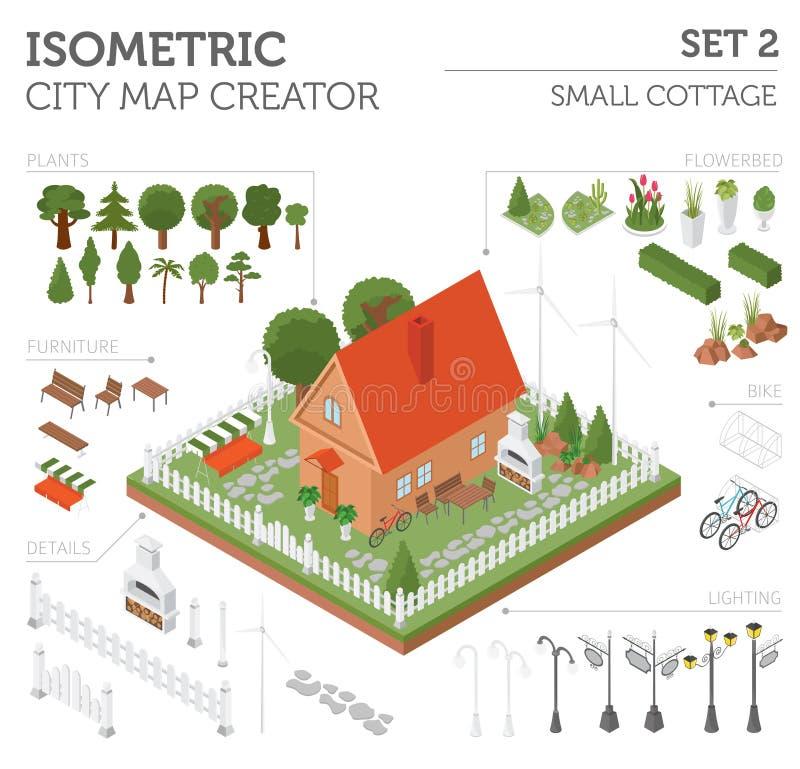 Επίπεδα τρισδιάστατα isometric στοιχεία κατασκευαστών χαρτών σπιτιών και πόλεων απεικόνιση αποθεμάτων