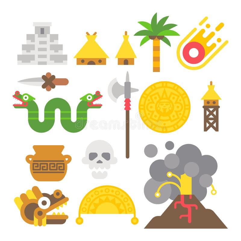 Επίπεδα των Μάγια στοιχεία σχεδίου καθορισμένα ελεύθερη απεικόνιση δικαιώματος