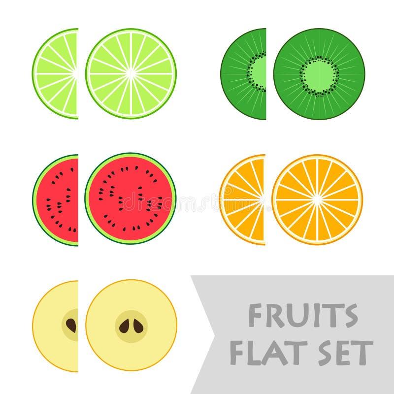 Επίπεδα φρούτα σχεδίου καθορισμένα διάνυσμα απεικόνιση αποθεμάτων