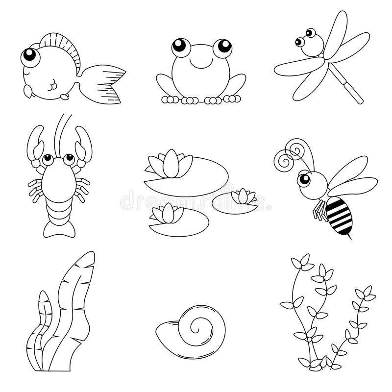 Επίπεδα χαριτωμένα ζώα σχεδίου καθορισμένα Ζωή ποταμών: ψάρια, βάτραχος, λιβελλούλη, αστακοί, μέλισσα, κρίνος νερού, κοχύλια και  διανυσματική απεικόνιση