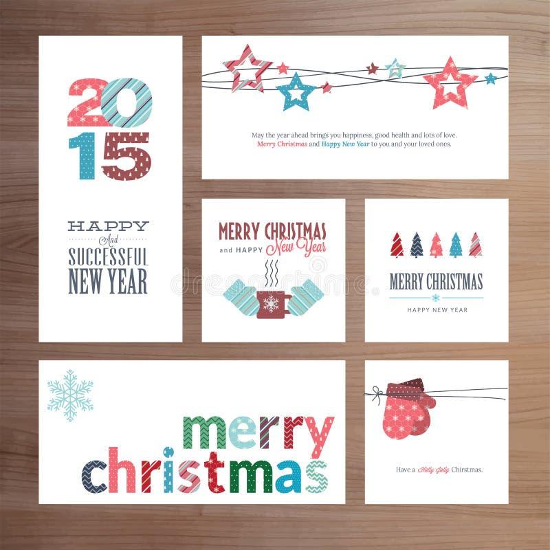 Επίπεδα Χριστούγεννα σχεδίου και νέα πρότυπα ευχετήριων καρτών έτους