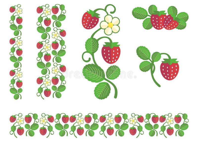 Επίπεδα χρώματα φραουλών καθορισμένα απεικόνιση αποθεμάτων