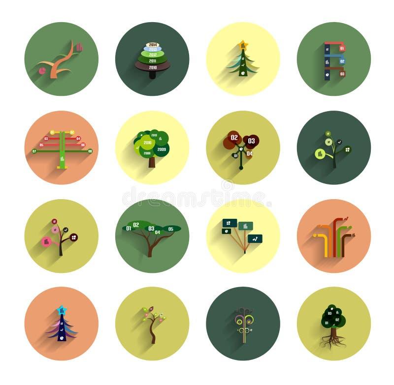 Επίπεδα eco πρότυπα σχεδίου εικονιδίων δέντρων infographic ελεύθερη απεικόνιση δικαιώματος