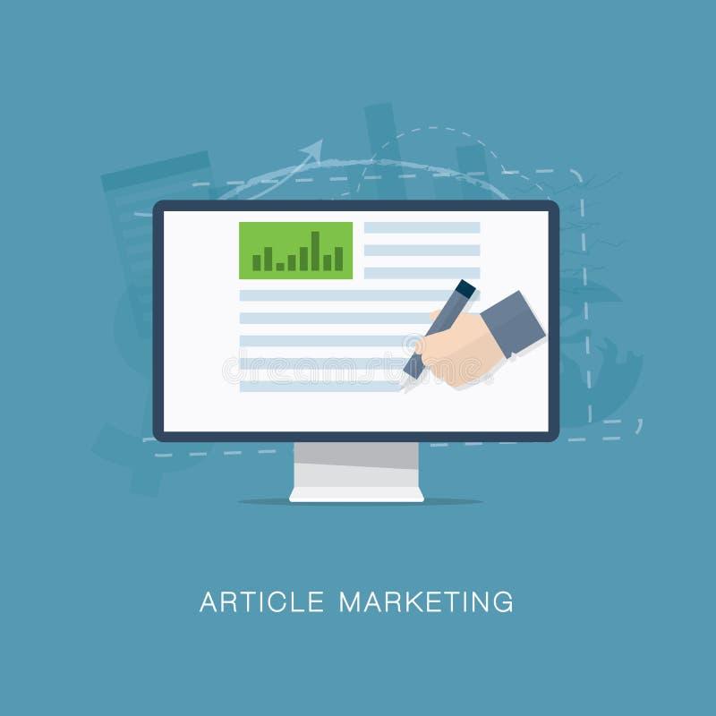 Επίπεδες άρθρο Διαδικτύου και απεικόνιση μάρκετινγκ ενημερωτικών δελτίων ελεύθερη απεικόνιση δικαιώματος