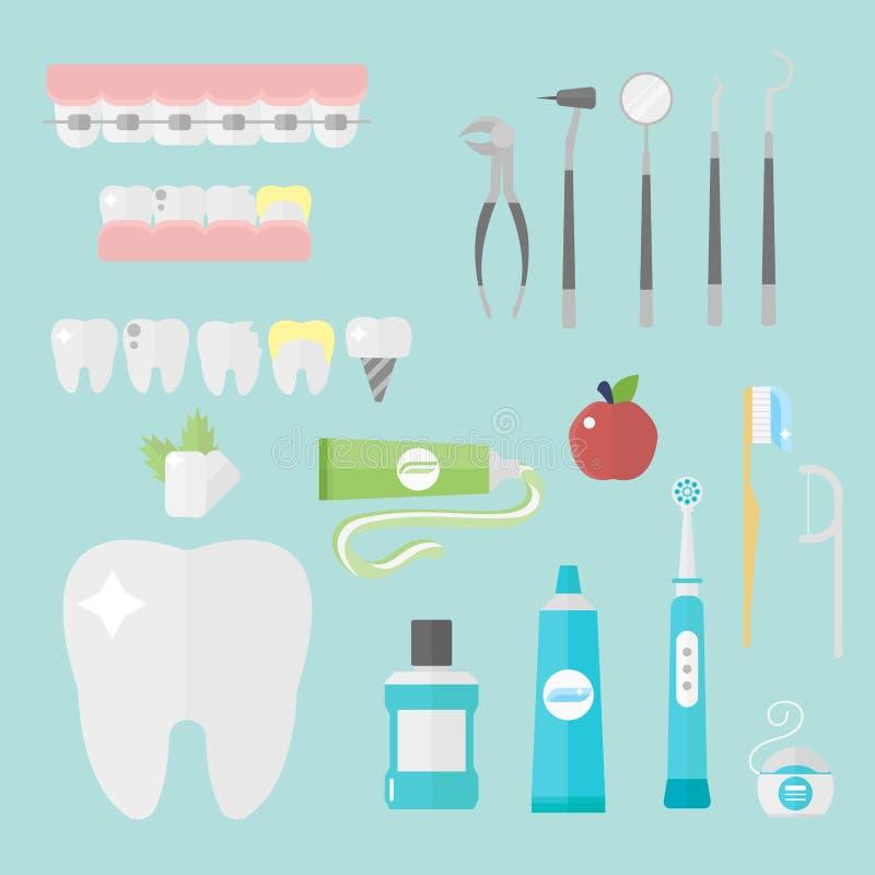 Επίπεδες έννοια υγειονομικών συστημάτων ερευνητικών ιατρικές εργαλείων συμβόλων οδοντιάτρων υγειονομικής περίθαλψης και υγιεινή ο ελεύθερη απεικόνιση δικαιώματος
