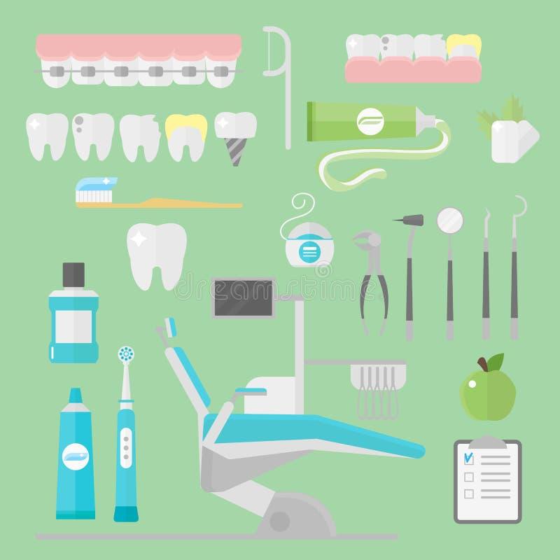 Επίπεδες έννοια υγειονομικών συστημάτων ερευνητικών ιατρικές εργαλείων συμβόλων οδοντιάτρων υγειονομικής περίθαλψης και υγιεινή ο διανυσματική απεικόνιση