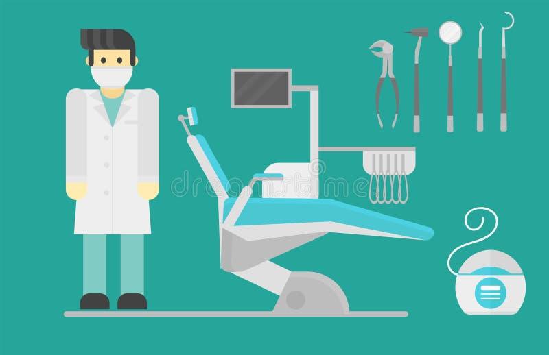 Επίπεδες έννοια υγειονομικών συστημάτων ερευνητικών ιατρικές εργαλείων συμβόλων οδοντιάτρων υγειονομικής περίθαλψης και υγιεινή ο απεικόνιση αποθεμάτων