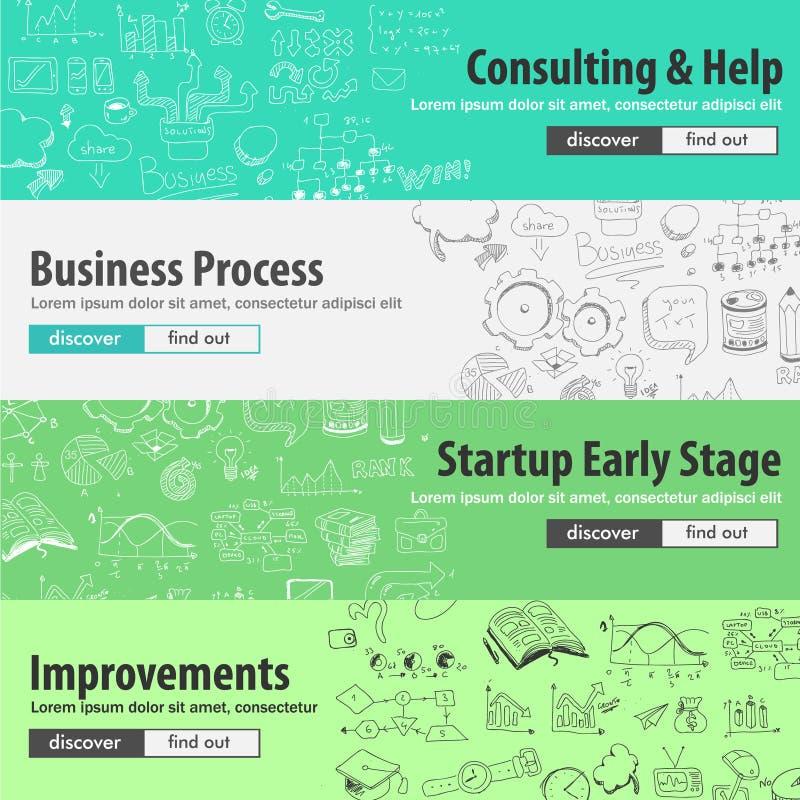 Επίπεδες έννοιες σχεδίου για τα ξεκινήματα, διαβούλευση, επιχείρηση διανυσματική απεικόνιση