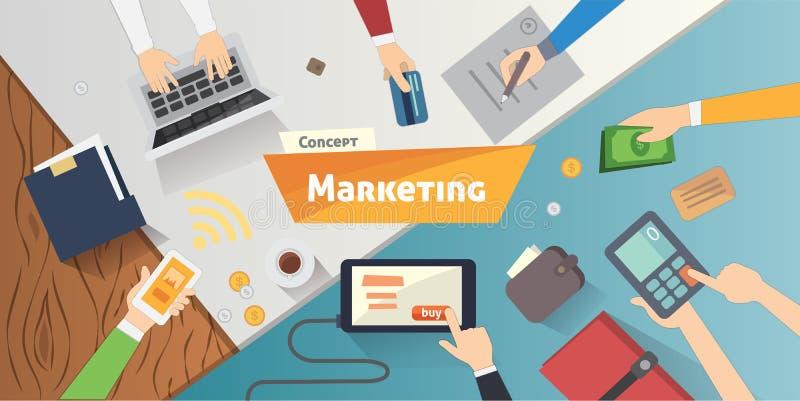Επίπεδες έννοιες σχεδίου για το μάρκετινγκ περιεχομένου, που βρίσκει το στόχο της αγοράς, κινητές τραπεζικές εργασίες απεικόνιση αποθεμάτων