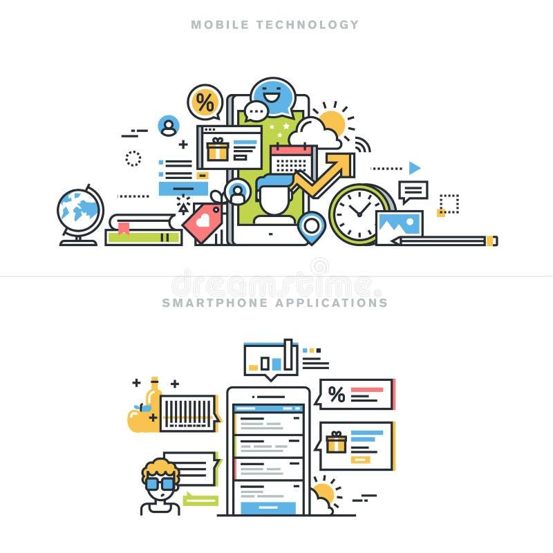 Επίπεδες έννοιες σχεδίου γραμμών για τα κινητές apps και τις υπηρεσίες απεικόνιση αποθεμάτων