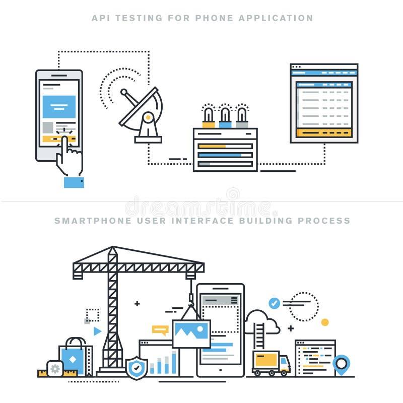 Επίπεδες έννοιες σχεδίου γραμμών για την κινητή ανάπτυξη apps και τη δοκιμή API διανυσματική απεικόνιση