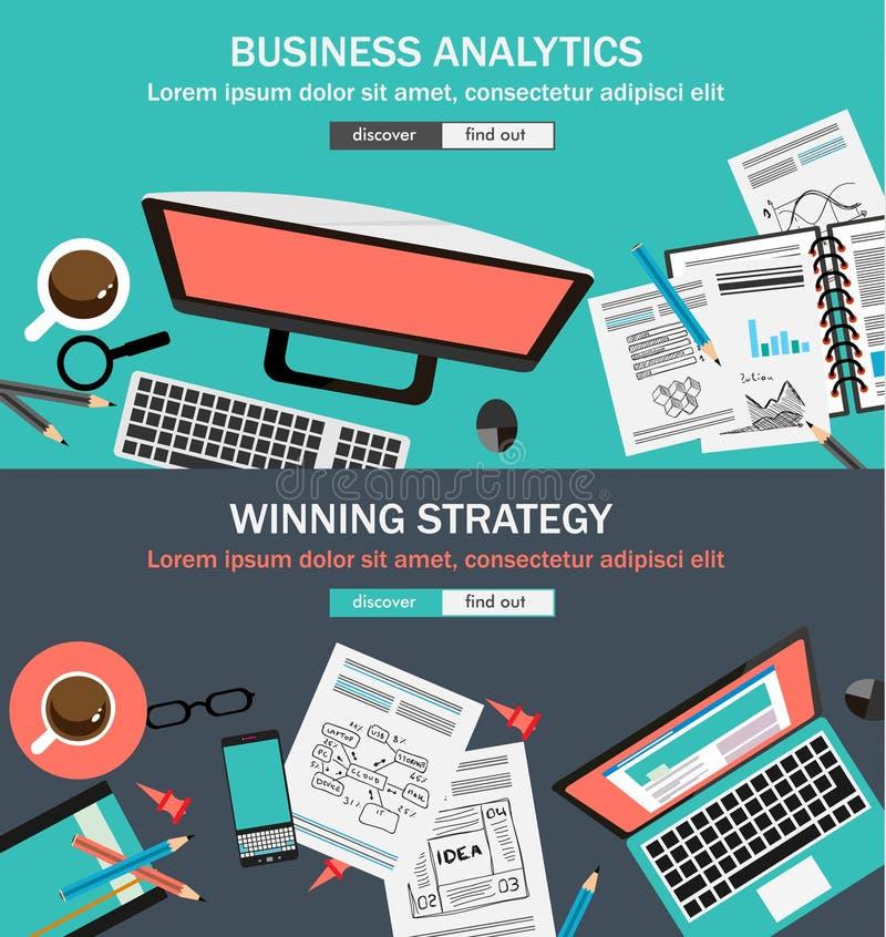 Επίπεδες έννοιες σχεδίου ύφους για τη επιχειρησιακή στρατηγική και τη σταδιοδρομία διανυσματική απεικόνιση