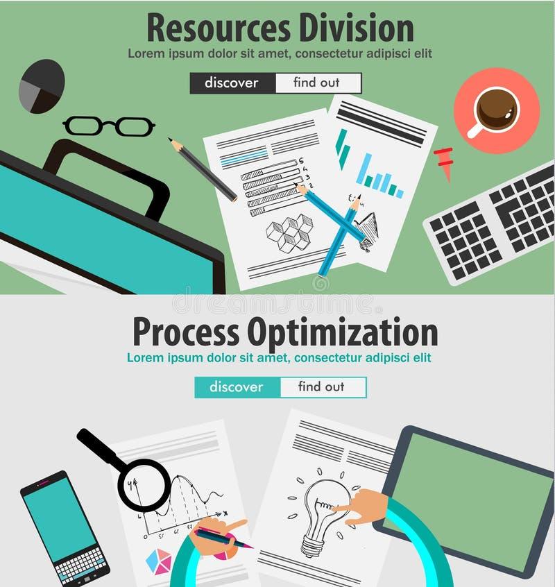 Επίπεδες έννοιες σχεδίου ύφους για το επιχειρησιακό analytics και τη στρατηγική νίκης ελεύθερη απεικόνιση δικαιώματος