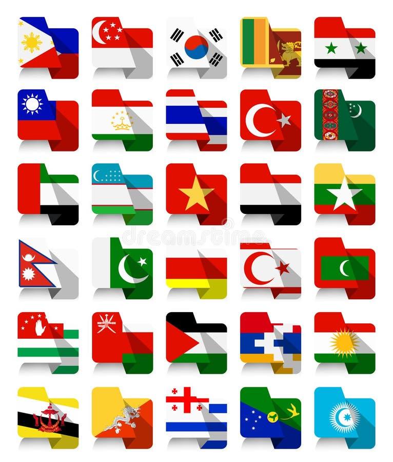 Επίπεδες ασιατικές κυματίζοντας σημαίες 2 σχεδίου διανυσματική απεικόνιση