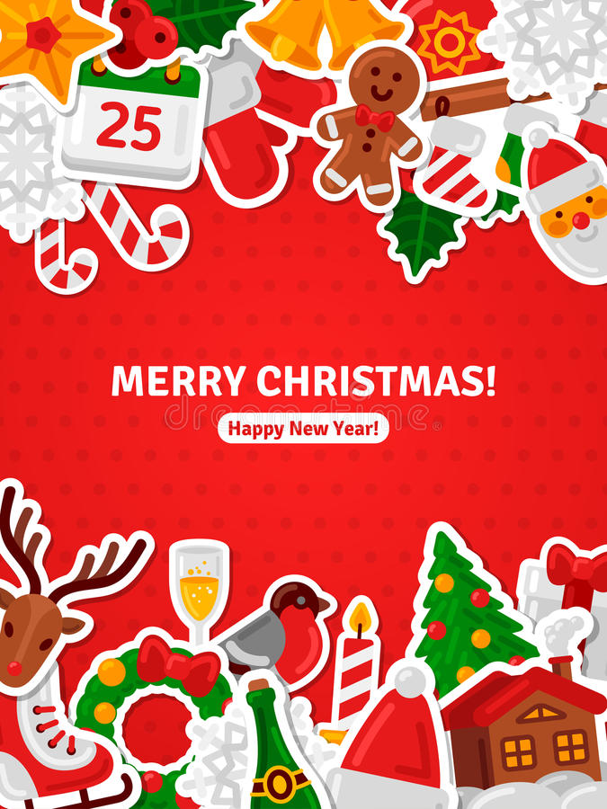 Επίπεδες αυτοκόλλητες ετικέττες εικονιδίων Χριστουγέννων εμβλημάτων Χαρούμενα Χριστούγεννας απεικόνιση αποθεμάτων