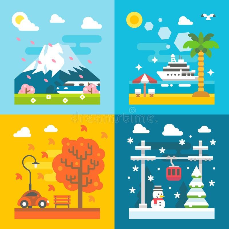Επίπεδες εποχές ταξιδιού σχεδίου καθορισμένες ελεύθερη απεικόνιση δικαιώματος