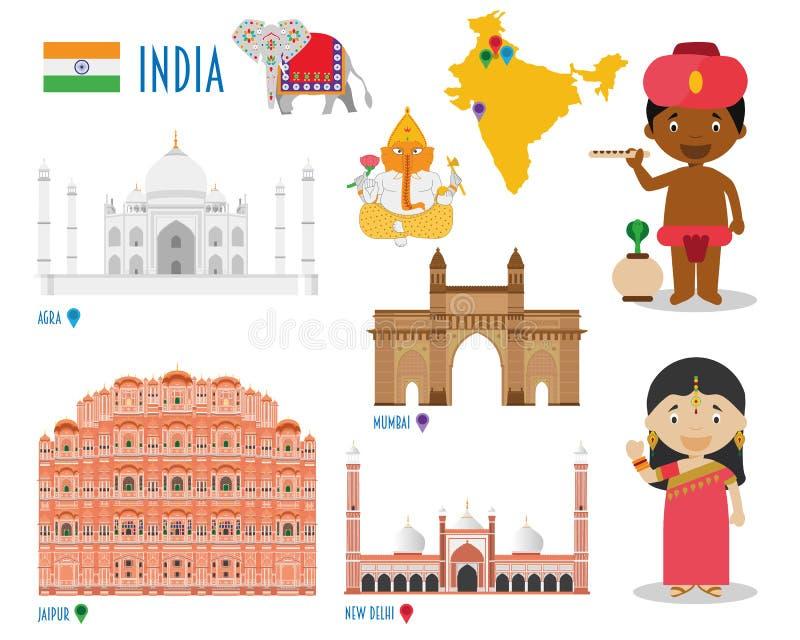 Επίπεδες καθορισμένες ταξίδι εικονιδίων της Ινδίας και έννοια τουρισμού απεικόνιση αποθεμάτων