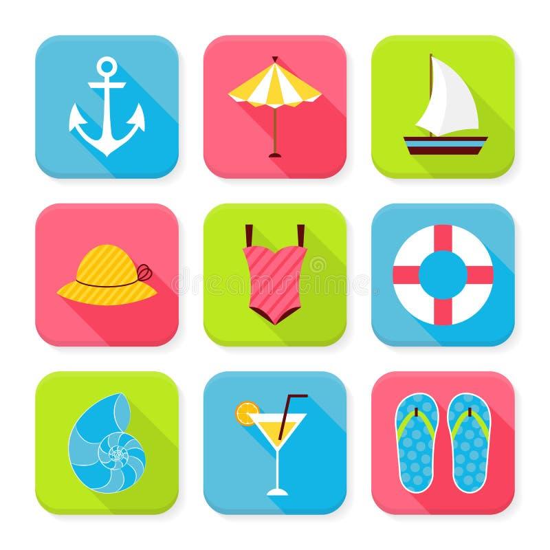 Επίπεδες καλοκαιρινές διακοπές και τακτοποιημένα θέρετρο App εικονίδια καθορισμένες ελεύθερη απεικόνιση δικαιώματος