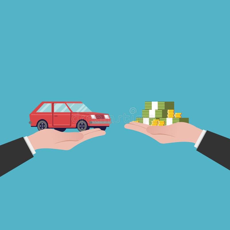 Επίπεδες πωλήσεις αυτοκινήτων απεικόνισης Η μεταφορά των χρημάτων και της μηχανής από τα χέρια Κόκκινο όχημα Διανυσματική εικόνα  απεικόνιση αποθεμάτων