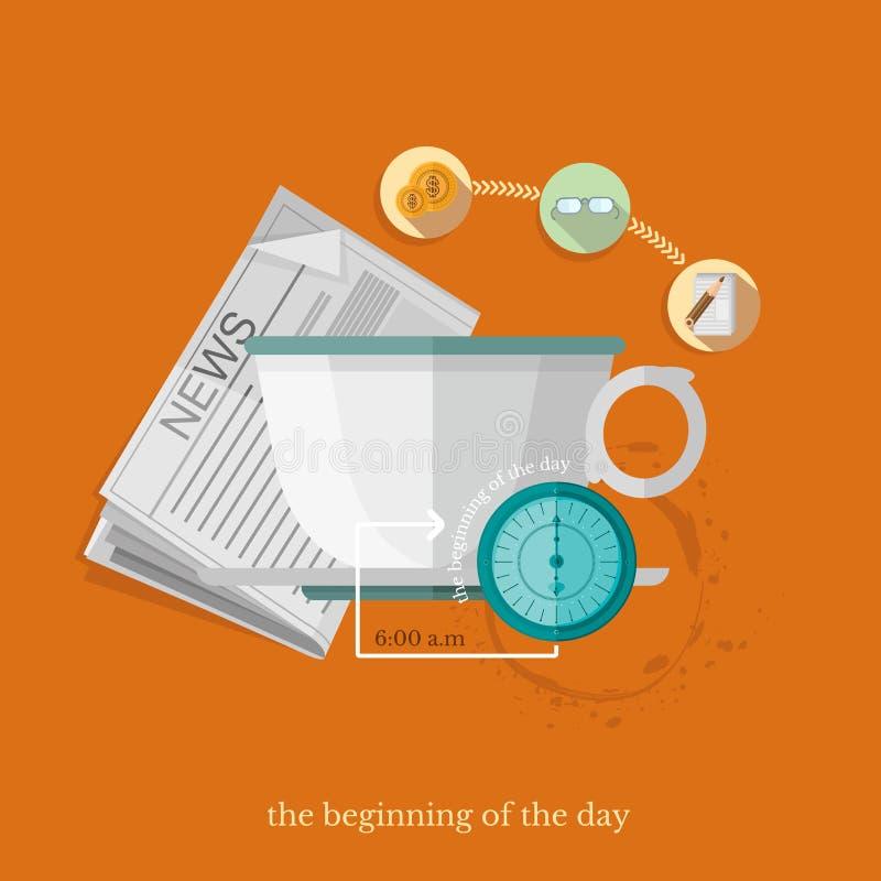 Επίπεδες χρηματοδότηση απεικόνισης σχεδίου διανυσματικές και επιχειρησιακή αρχή της ημέρας απεικόνιση αποθεμάτων