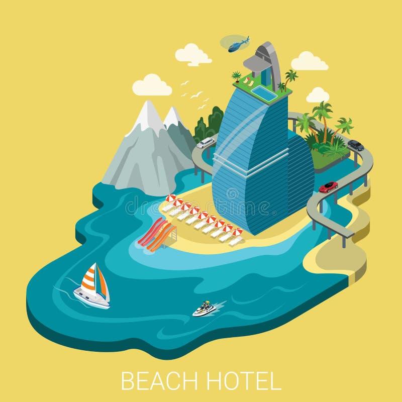 Επίπεδες isometric διανυσματικές διακοπές ταξιδιού infographics ξενοδοχείων παραλιών ελεύθερη απεικόνιση δικαιώματος