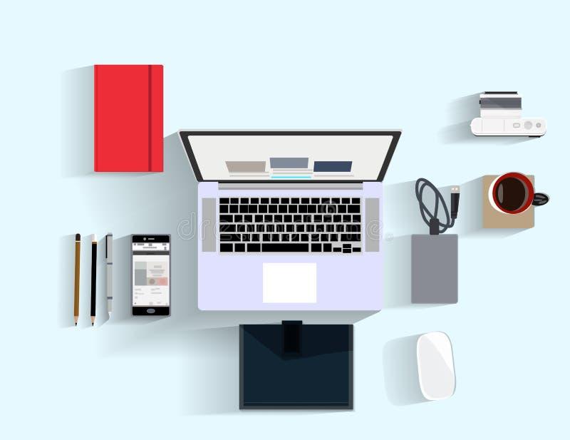 Επίπεδη έννοια απεικόνισης σχεδίου για τη θέση εργασίας στο γραφείο, χώρος εργασίας ελεύθερη απεικόνιση δικαιώματος
