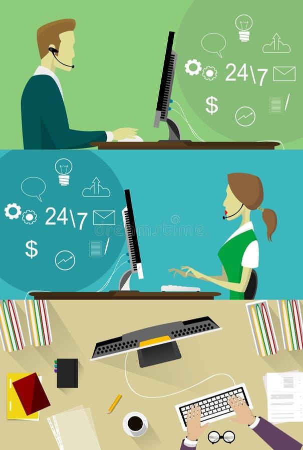 Επίπεδη έννοια απεικόνισης σχεδίου ζωηρόχρωμη διανυσματική για το τηλεφωνικό κέντρο, υπηρεσία υποστήριξης πελατών που απομονώνετα διανυσματική απεικόνιση
