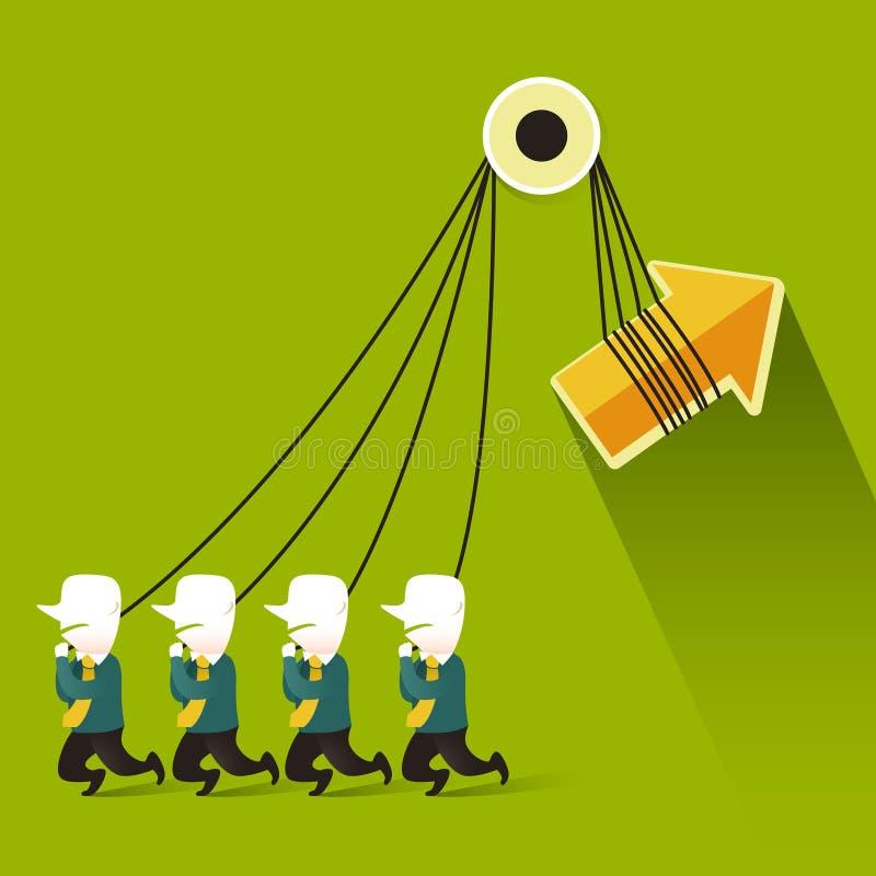 Επίπεδη έννοια απεικόνισης σχεδίου της ομαδικής εργασίας απεικόνιση αποθεμάτων
