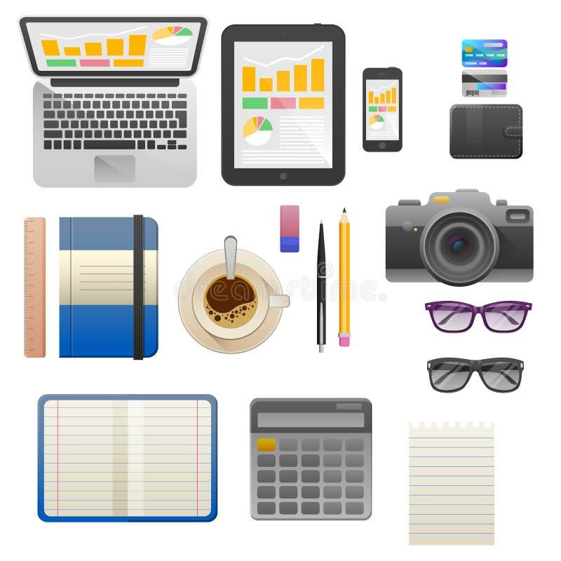 Επίπεδη έννοια απεικόνισης σύγχρονου σχεδίου διανυσματική του δημιουργικού χώρου εργασίας γραφείων ελεύθερη απεικόνιση δικαιώματος