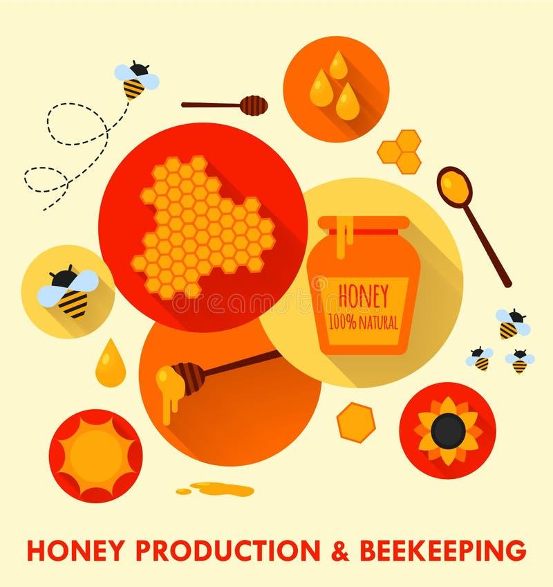 Επίπεδη έννοια εικονιδίων παραγωγής και μελισσοκομίας μελιού διανυσματική απεικόνιση