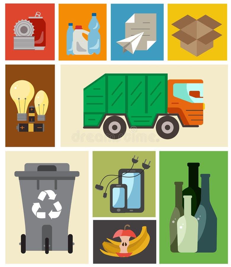 Επίπεδη έννοια διαχείρησης αποβλήτων ελεύθερη απεικόνιση δικαιώματος