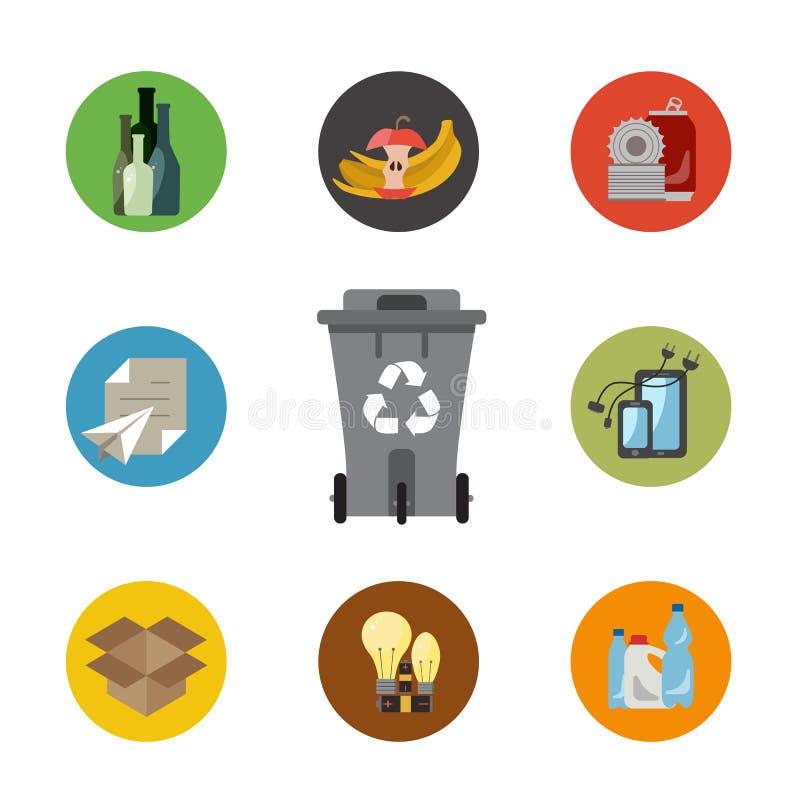 Επίπεδη έννοια διαχείρησης αποβλήτων διανυσματική απεικόνιση