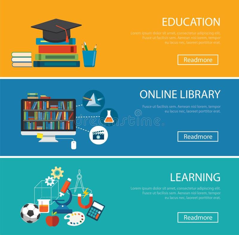 Επίπεδη έννοια σχεδίου για την εκπαίδευση, σε απευθείας σύνδεση βιβλιοθήκη, εκμάθηση ελεύθερη απεικόνιση δικαιώματος
