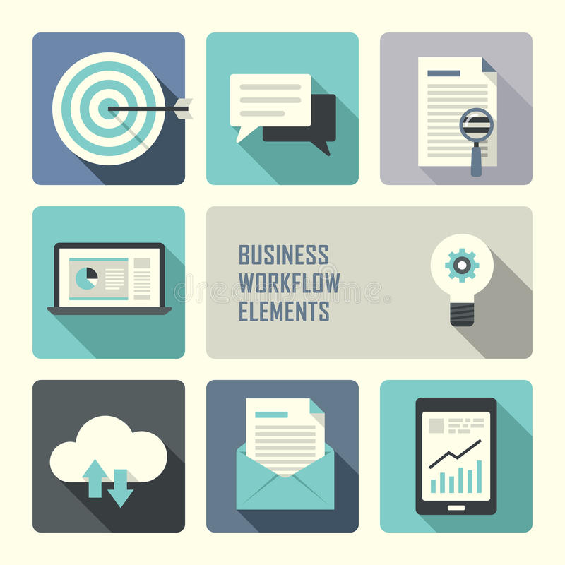 Επίπεδη έννοια σχεδίου για την επιχειρησιακή ροή της δουλειάς διανυσματική απεικόνιση