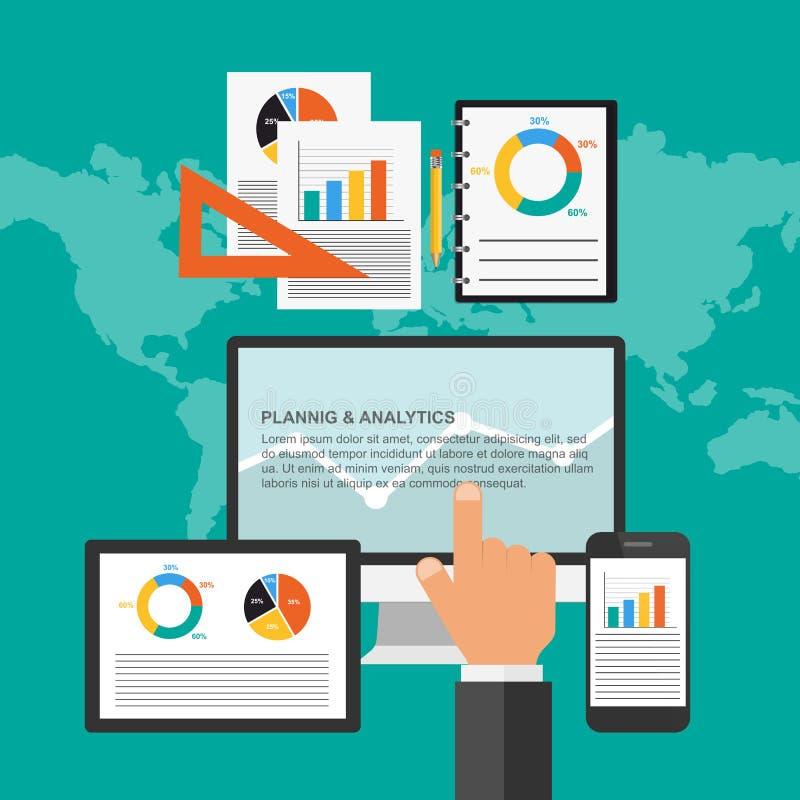 Επίπεδη έννοια σχεδίου για τον επιχειρησιακό προγραμματισμό και το analytics απεικόνιση αποθεμάτων
