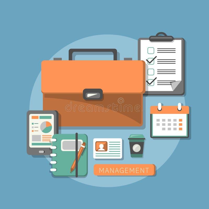 Επίπεδη έννοια σχεδίου της διοίκησης επιχειρήσεων διανυσματική απεικόνιση