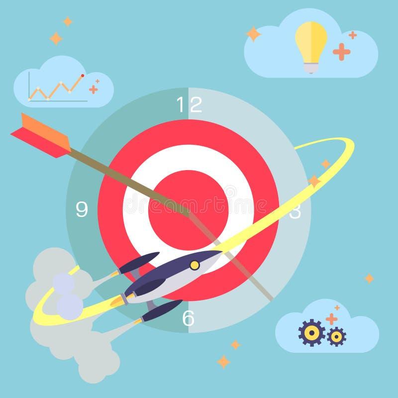 Επίπεδη έννοια σχεδίου του planni εργασίας χρονικής διαχείρισης απεικόνιση αποθεμάτων