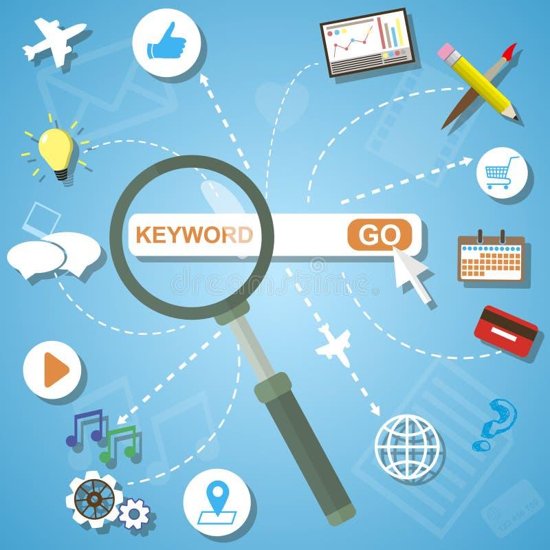 Επίπεδη έννοια σχεδίου των πληροφοριών αναζήτησης analytics και της βελτιστοποίησης SEO διανυσματική απεικόνιση