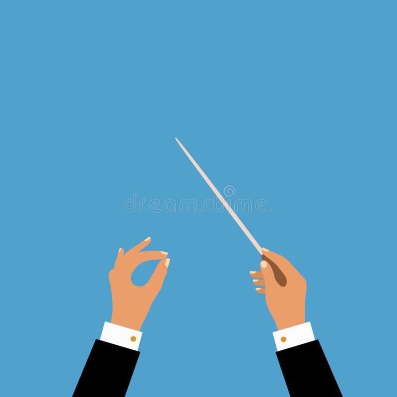 Επίπεδη έννοια της ορχήστρας μουσικής ή του αγωγού χορωδιών απεικόνιση αποθεμάτων