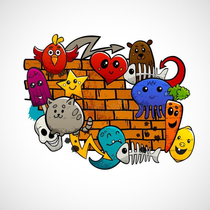 Επίπεδη έννοια χρώματος χαρακτήρων γκράφιτι διανυσματική απεικόνιση