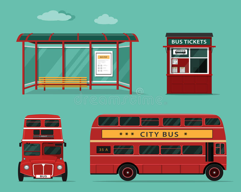 Επίπεδη έννοια ύφους των δημόσιων συγκοινωνιών Σύνολο λεωφορείου πόλεων με την μπροστινή και πλάγια όψη, στάση λεωφορείου, γραφεί ελεύθερη απεικόνιση δικαιώματος