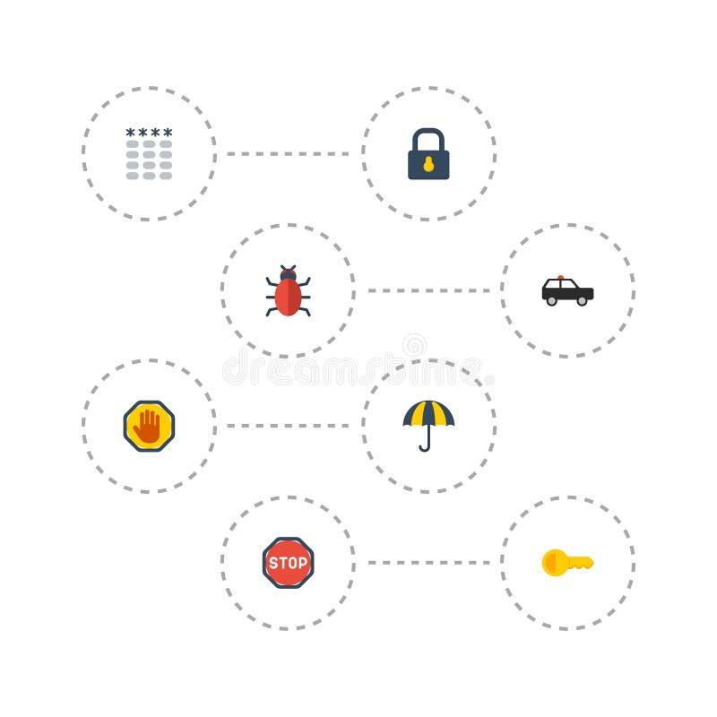 Επίπεδη ένδειξη εικονιδίων, Parasol, λουκέτο και άλλα διανυσματικά στοιχεία Το σύνολο συμβόλων εικονιδίων προμήθευσης επίπεδων πε ελεύθερη απεικόνιση δικαιώματος