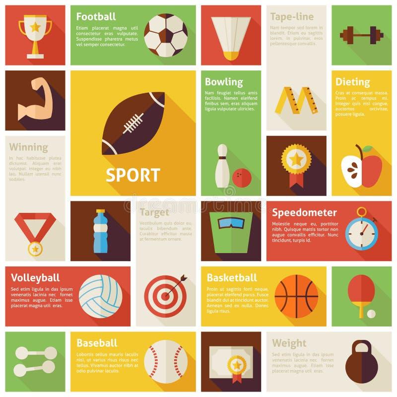 Επίπεδη αθλητική αναψυχή Infographic εικονιδίων σχεδίου διανυσματική ελεύθερη απεικόνιση δικαιώματος