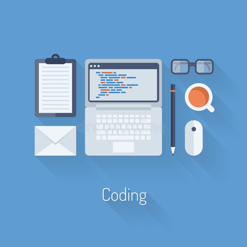 Επίπεδη απεικόνιση κωδικοποίησης και προγραμματισμού απεικόνιση αποθεμάτων