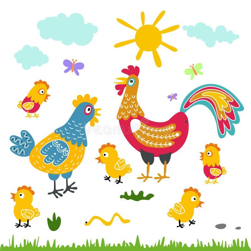 Επίπεδη απεικόνιση οικογενειακών κινούμενων σχεδίων αγροτικών πουλιών κοτόπουλο κοτών κοκκόρων στο άσπρο υπόβαθρο ελεύθερη απεικόνιση δικαιώματος