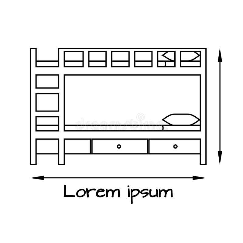 Επίπεδη απεικόνιση πλάγιας όψης του κρεβατιού κουκετών απεικόνιση αποθεμάτων
