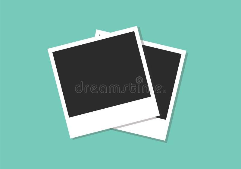 Επίπεδη απεικόνιση πλαισίων φωτογραφιών Polaroid διανυσματική απεικόνιση