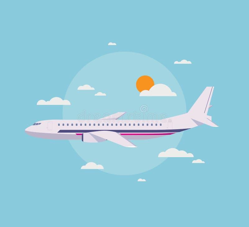 Επίπεδη απεικόνιση του σύγχρονου αεροπλάνου στον ουρανό απεικόνιση αποθεμάτων
